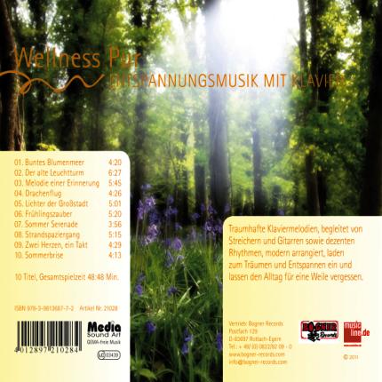 Wellness Pur - Entspannungsmusik mit Klavier - CD-Rueckseite