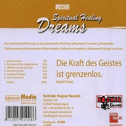 Largo - Spiritual Healing Dreams - Entspannungsmusik - Rückseite